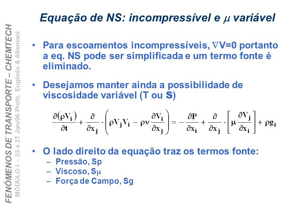 FENÔMENOS DE TRANSPORTE – CHEMTECH MÓDULO I – 23 a 27 Jan/06 Profs.