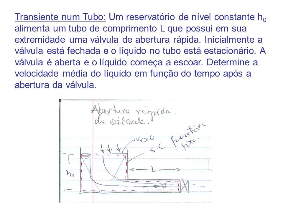 Transiente num Tubo: Um reservatório de nível constante h 0 alimenta um tubo de comprimento L que possui em sua extremidade uma válvula de abertura rá