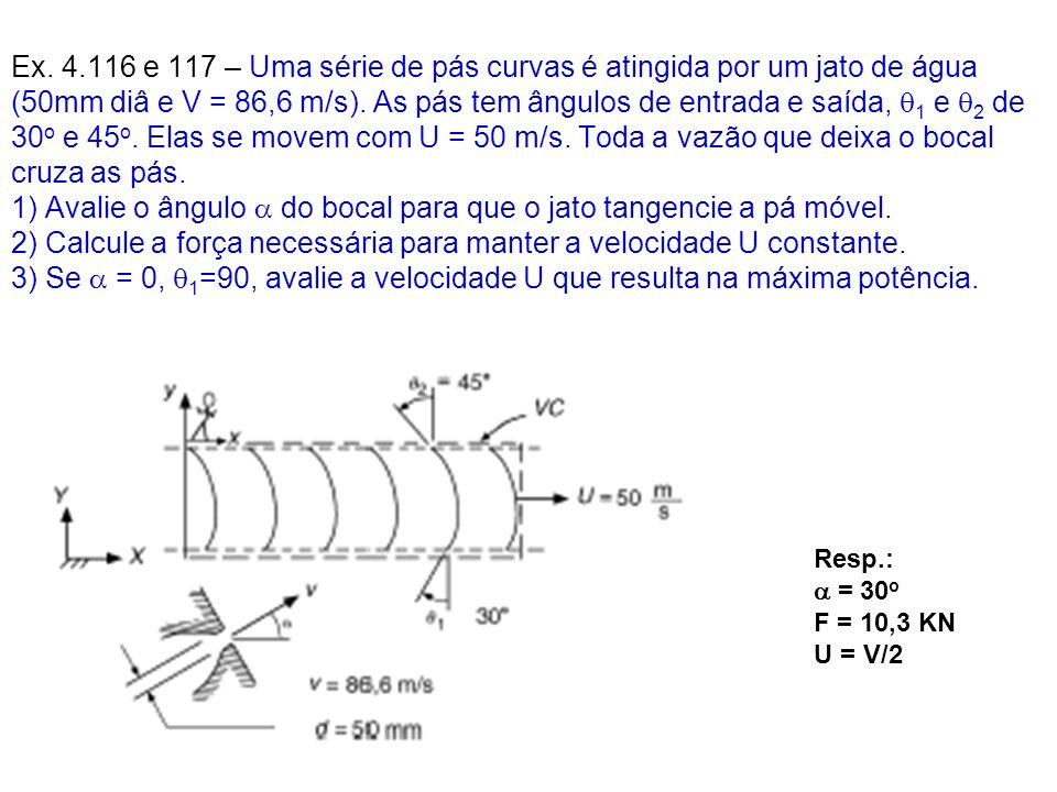 Ex. 4.116 e 117 – Uma série de pás curvas é atingida por um jato de água (50mm diâ e V = 86,6 m/s). As pás tem ângulos de entrada e saída, 1 e 2 de 30