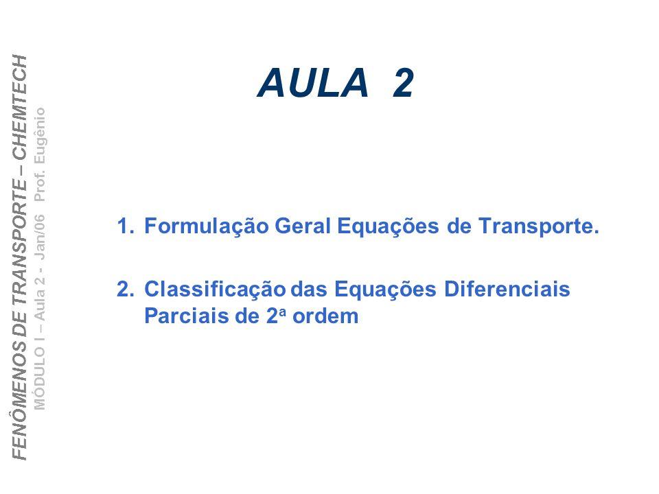 FENÔMENOS DE TRANSPORTE – CHEMTECH MÓDULO I – Aula 2 - Jan/06 Prof. Eugênio AULA 2 1.Formulação Geral Equações de Transporte. 2.Classificação das Equa