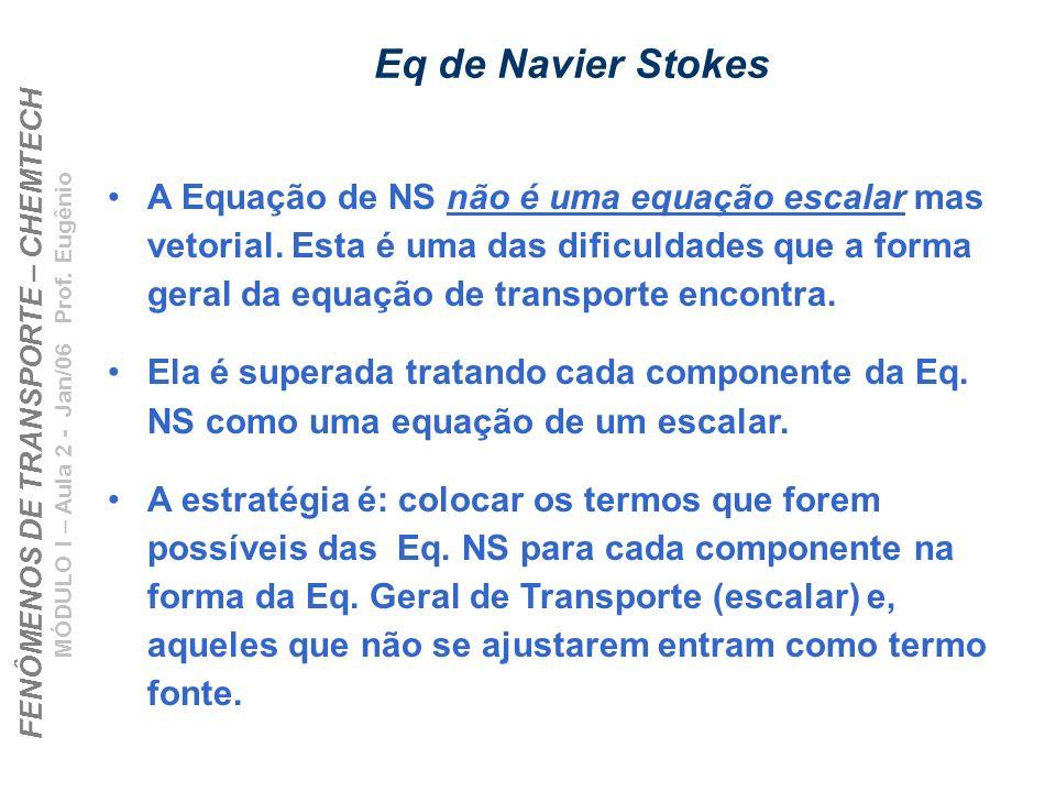FENÔMENOS DE TRANSPORTE – CHEMTECH MÓDULO I – Aula 2 - Jan/06 Prof. Eugênio Eq de Navier Stokes A Equação de NS não é uma equação escalar mas vetorial