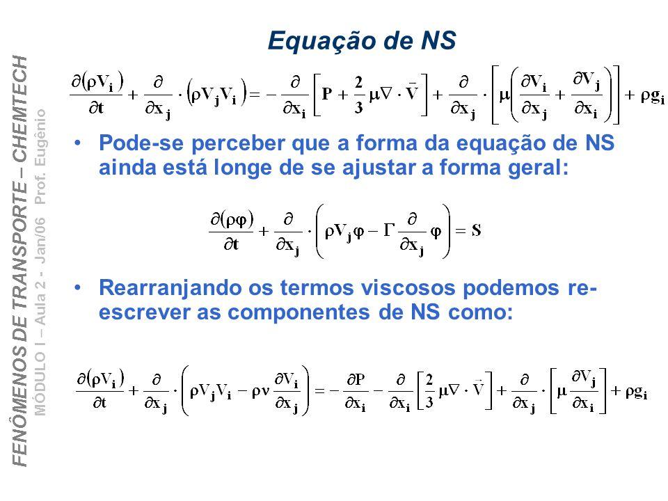 FENÔMENOS DE TRANSPORTE – CHEMTECH MÓDULO I – Aula 2 - Jan/06 Prof. Eugênio Equação de NS Pode-se perceber que a forma da equação de NS ainda está lon