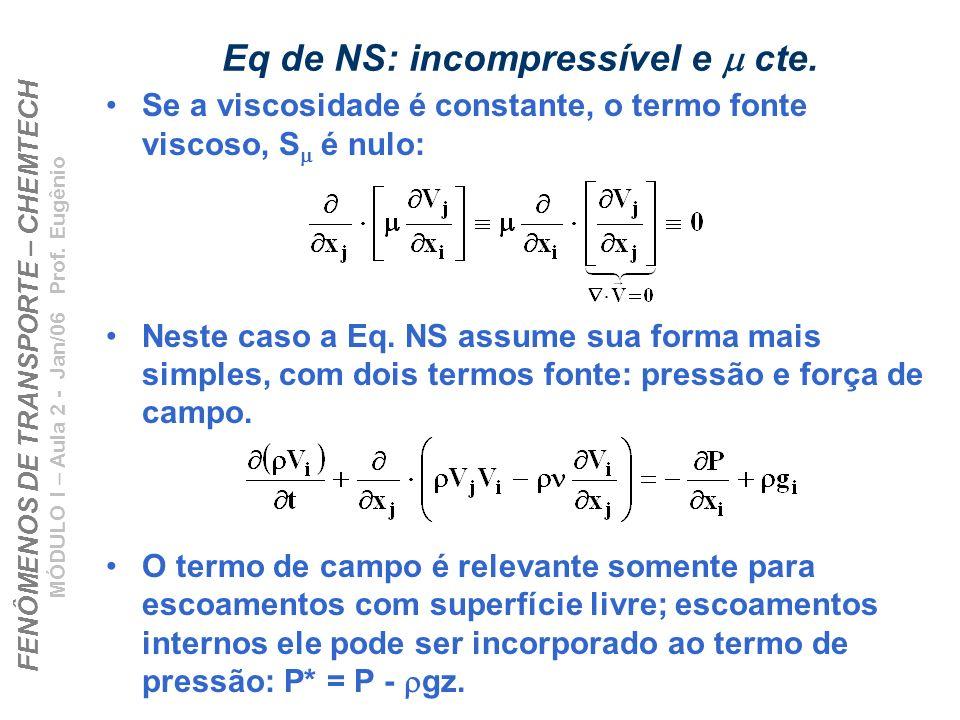 FENÔMENOS DE TRANSPORTE – CHEMTECH MÓDULO I – Aula 2 - Jan/06 Prof. Eugênio Eq de NS: incompressível e cte. Se a viscosidade é constante, o termo font