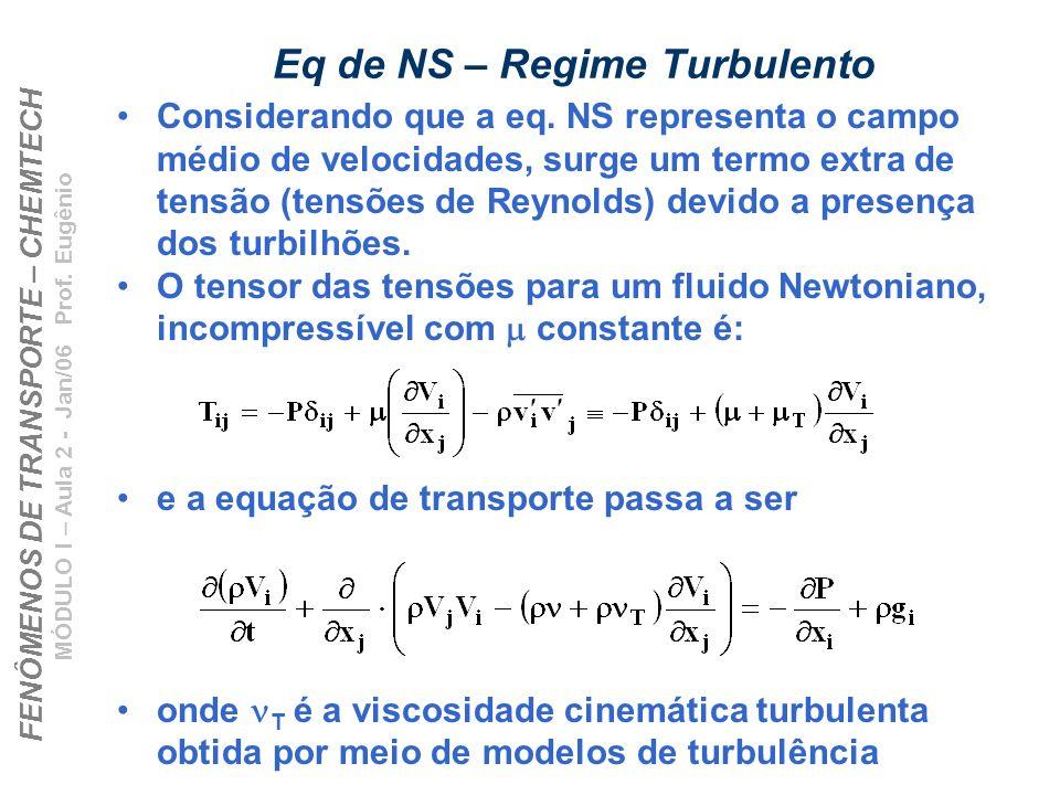 FENÔMENOS DE TRANSPORTE – CHEMTECH MÓDULO I – Aula 2 - Jan/06 Prof. Eugênio Eq de NS – Regime Turbulento Considerando que a eq. NS representa o campo