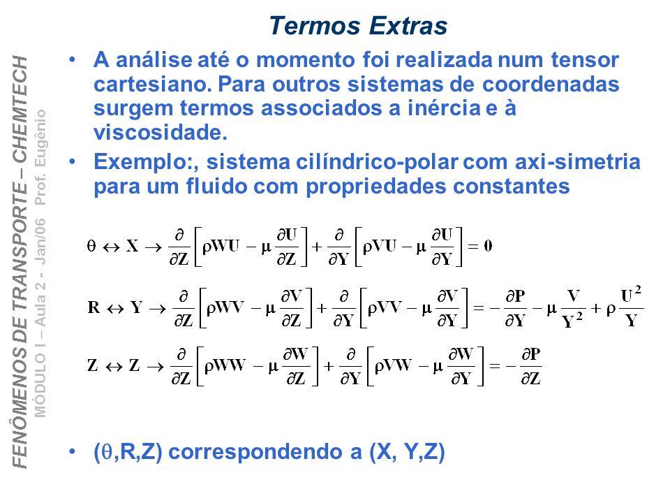 FENÔMENOS DE TRANSPORTE – CHEMTECH MÓDULO I – Aula 2 - Jan/06 Prof. Eugênio Termos Extras A análise até o momento foi realizada num tensor cartesiano.