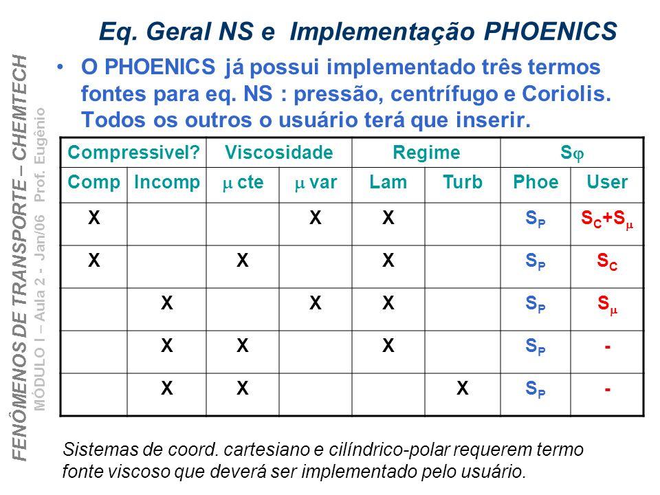 FENÔMENOS DE TRANSPORTE – CHEMTECH MÓDULO I – Aula 2 - Jan/06 Prof. Eugênio Eq. Geral NS e Implementação PHOENICS O PHOENICS já possui implementado tr
