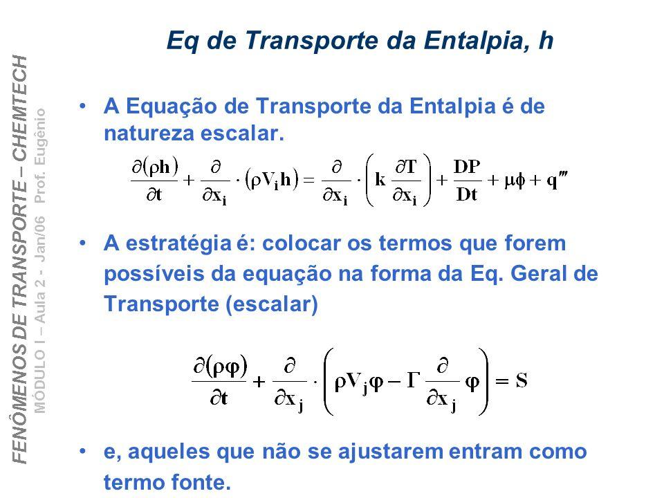 FENÔMENOS DE TRANSPORTE – CHEMTECH MÓDULO I – Aula 2 - Jan/06 Prof. Eugênio Eq de Transporte da Entalpia, h A Equação de Transporte da Entalpia é de n