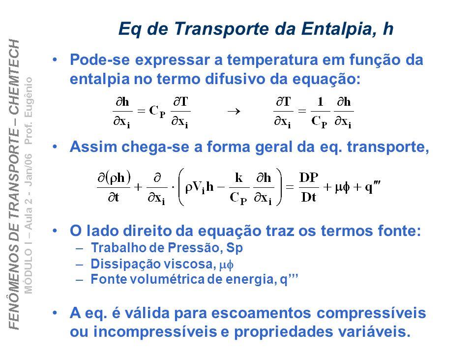 FENÔMENOS DE TRANSPORTE – CHEMTECH MÓDULO I – Aula 2 - Jan/06 Prof. Eugênio Eq de Transporte da Entalpia, h Pode-se expressar a temperatura em função