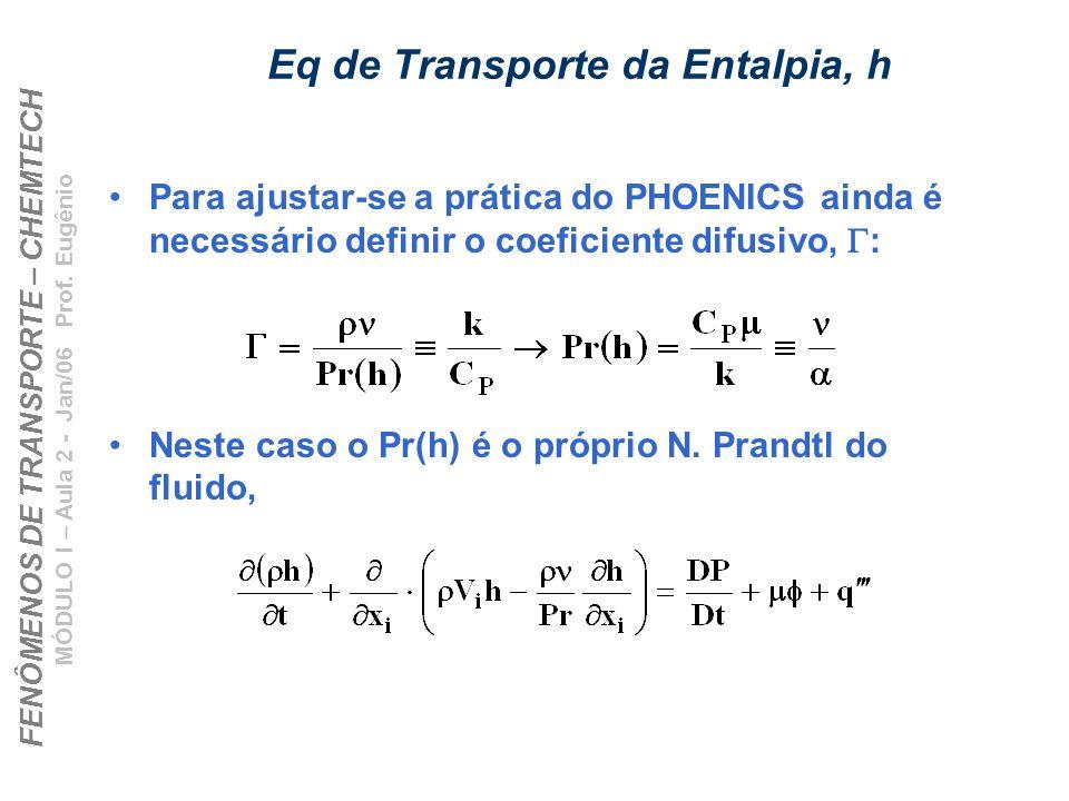 FENÔMENOS DE TRANSPORTE – CHEMTECH MÓDULO I – Aula 2 - Jan/06 Prof. Eugênio Eq de Transporte da Entalpia, h Para ajustar-se a prática do PHOENICS aind