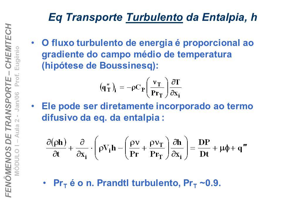 FENÔMENOS DE TRANSPORTE – CHEMTECH MÓDULO I – Aula 2 - Jan/06 Prof. Eugênio Eq Transporte Turbulento da Entalpia, h O fluxo turbulento de energia é pr