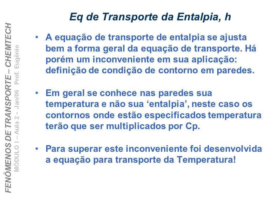 FENÔMENOS DE TRANSPORTE – CHEMTECH MÓDULO I – Aula 2 - Jan/06 Prof. Eugênio Eq de Transporte da Entalpia, h A equação de transporte de entalpia se aju