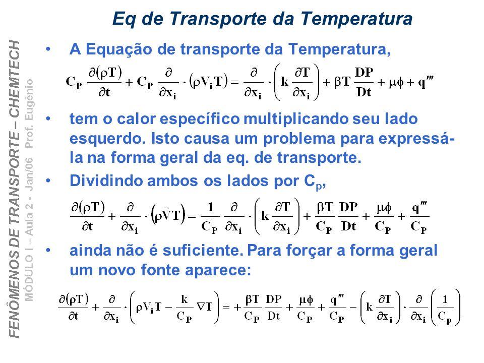 FENÔMENOS DE TRANSPORTE – CHEMTECH MÓDULO I – Aula 2 - Jan/06 Prof. Eugênio Eq de Transporte da Temperatura A Equação de transporte da Temperatura, te
