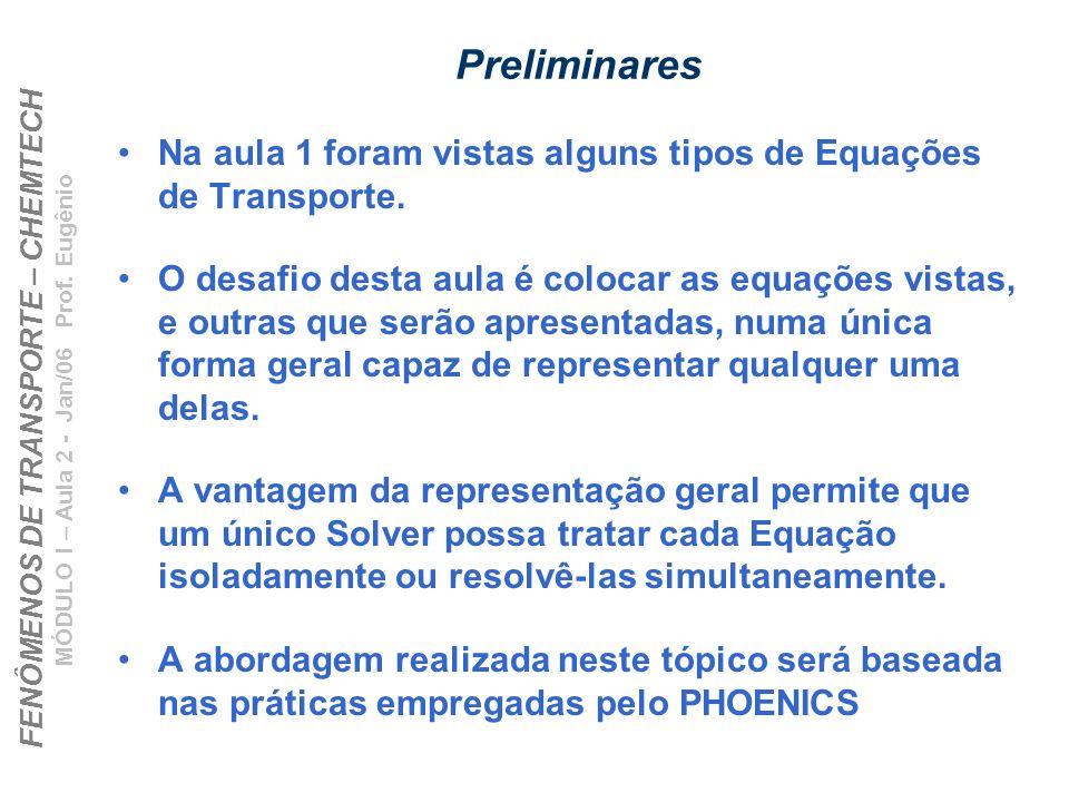 FENÔMENOS DE TRANSPORTE – CHEMTECH MÓDULO I – Aula 2 - Jan/06 Prof. Eugênio Preliminares Na aula 1 foram vistas alguns tipos de Equações de Transporte