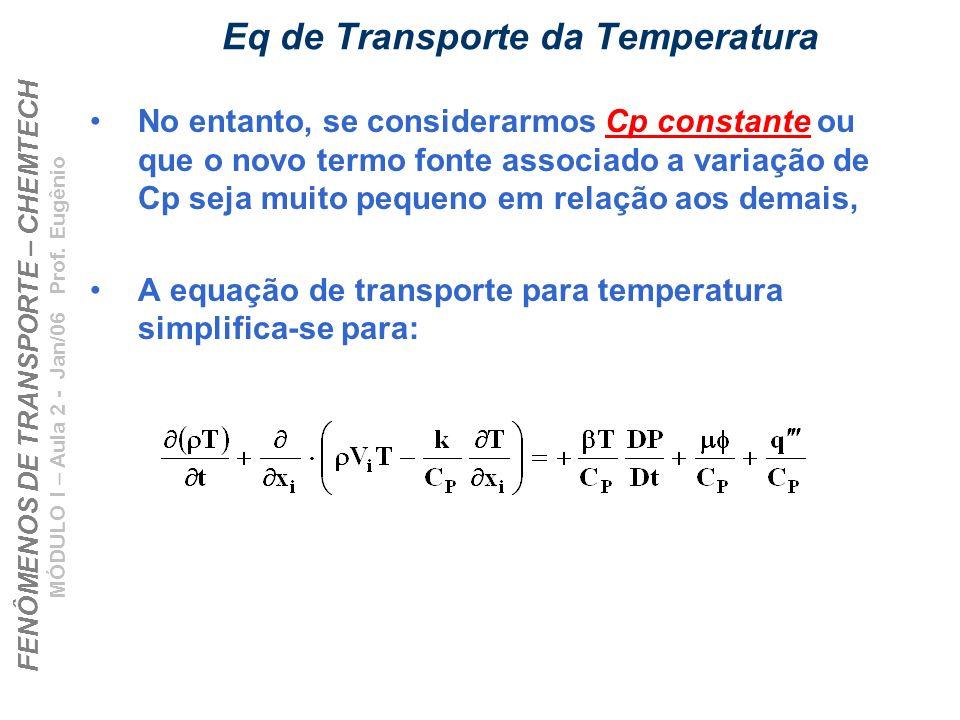 FENÔMENOS DE TRANSPORTE – CHEMTECH MÓDULO I – Aula 2 - Jan/06 Prof. Eugênio Eq de Transporte da Temperatura No entanto, se considerarmos Cp constante