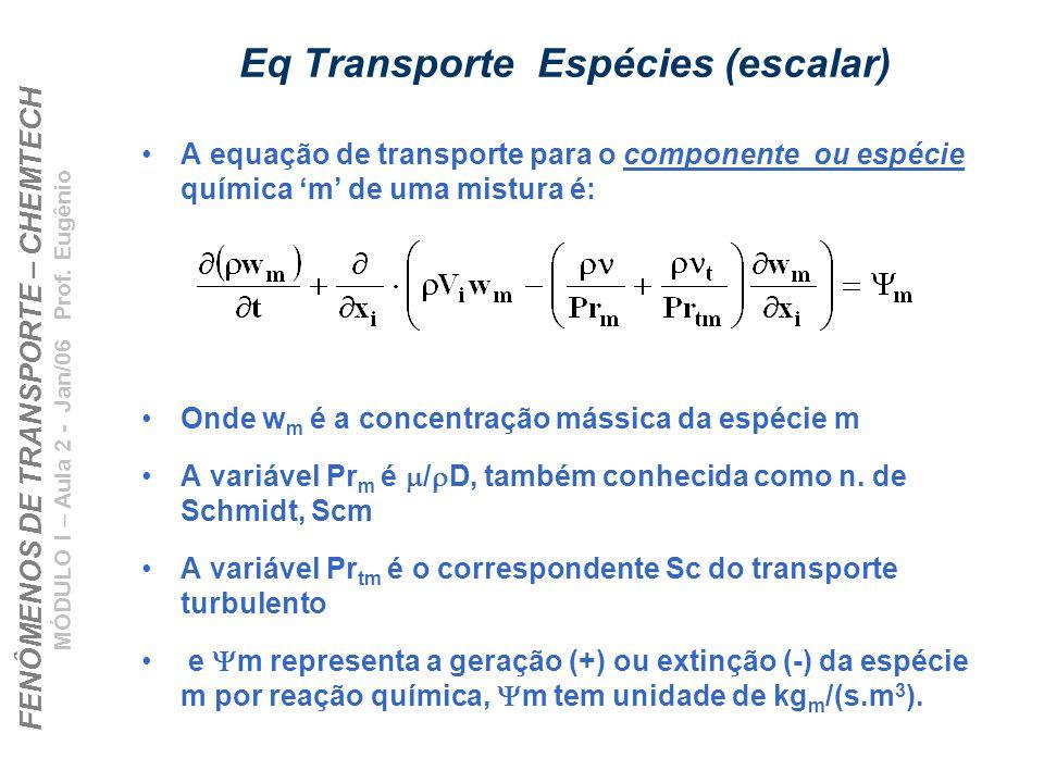 FENÔMENOS DE TRANSPORTE – CHEMTECH MÓDULO I – Aula 2 - Jan/06 Prof. Eugênio Eq Transporte Espécies (escalar) A equação de transporte para o componente