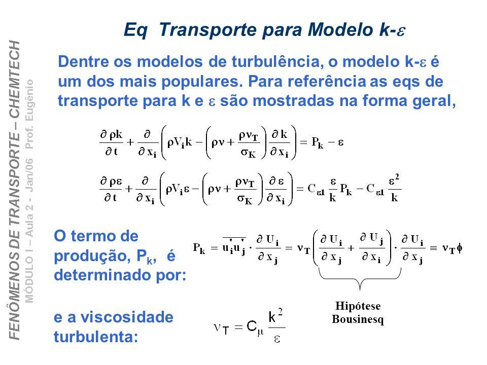 FENÔMENOS DE TRANSPORTE – CHEMTECH MÓDULO I – Aula 2 - Jan/06 Prof. Eugênio Eq Transporte para Modelo k- Hipótese Bousinesq Dentre os modelos de turbu