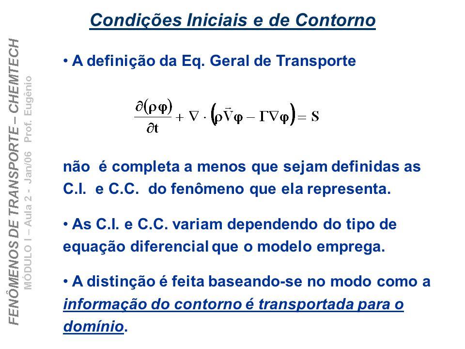 FENÔMENOS DE TRANSPORTE – CHEMTECH MÓDULO I – Aula 2 - Jan/06 Prof. Eugênio Condições Iniciais e de Contorno A definição da Eq. Geral de Transporte nã