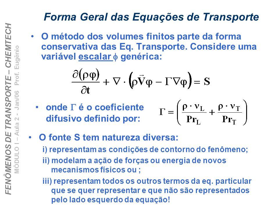FENÔMENOS DE TRANSPORTE – CHEMTECH MÓDULO I – Aula 2 - Jan/06 Prof. Eugênio Forma Geral das Equações de Transporte O método dos volumes finitos parte