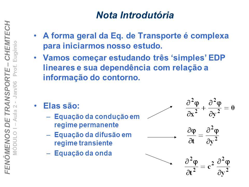 FENÔMENOS DE TRANSPORTE – CHEMTECH MÓDULO I – Aula 2 - Jan/06 Prof. Eugênio Nota Introdutória A forma geral da Eq. de Transporte é complexa para inici