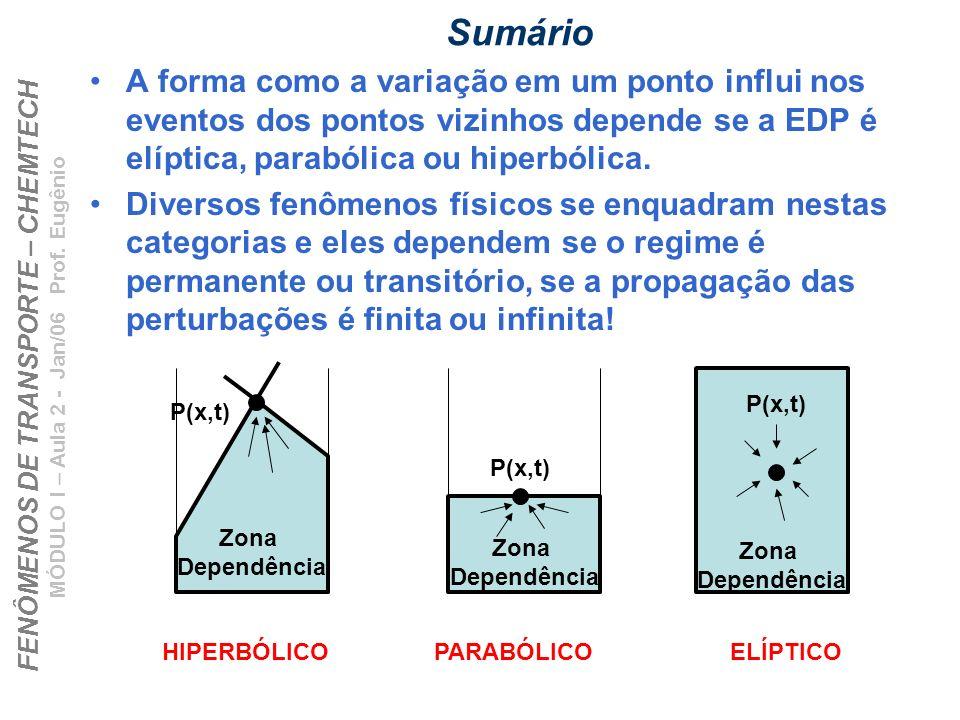 FENÔMENOS DE TRANSPORTE – CHEMTECH MÓDULO I – Aula 2 - Jan/06 Prof. Eugênio Sumário A forma como a variação em um ponto influi nos eventos dos pontos