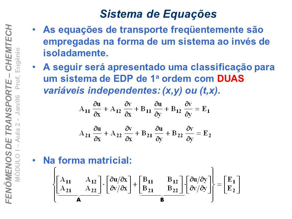 FENÔMENOS DE TRANSPORTE – CHEMTECH MÓDULO I – Aula 2 - Jan/06 Prof. Eugênio Sistema de Equações As equações de transporte freqüentemente são empregada