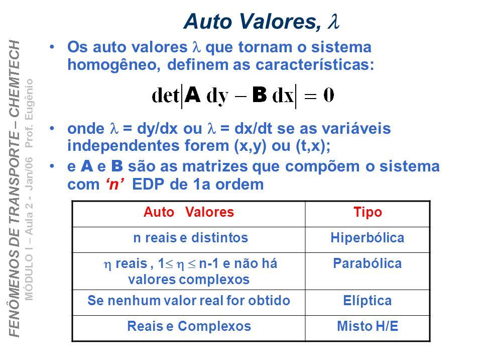 FENÔMENOS DE TRANSPORTE – CHEMTECH MÓDULO I – Aula 2 - Jan/06 Prof. Eugênio Auto Valores, Os auto valores que tornam o sistema homogêneo, definem as c