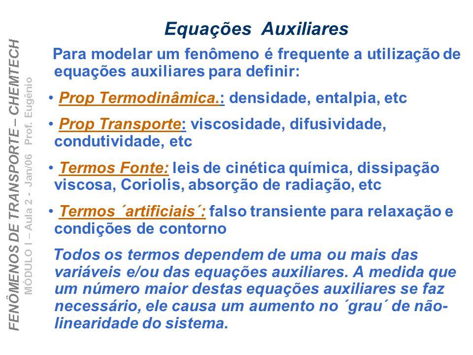 FENÔMENOS DE TRANSPORTE – CHEMTECH MÓDULO I – Aula 2 - Jan/06 Prof. Eugênio Equações Auxiliares Para modelar um fenômeno é frequente a utilização de e
