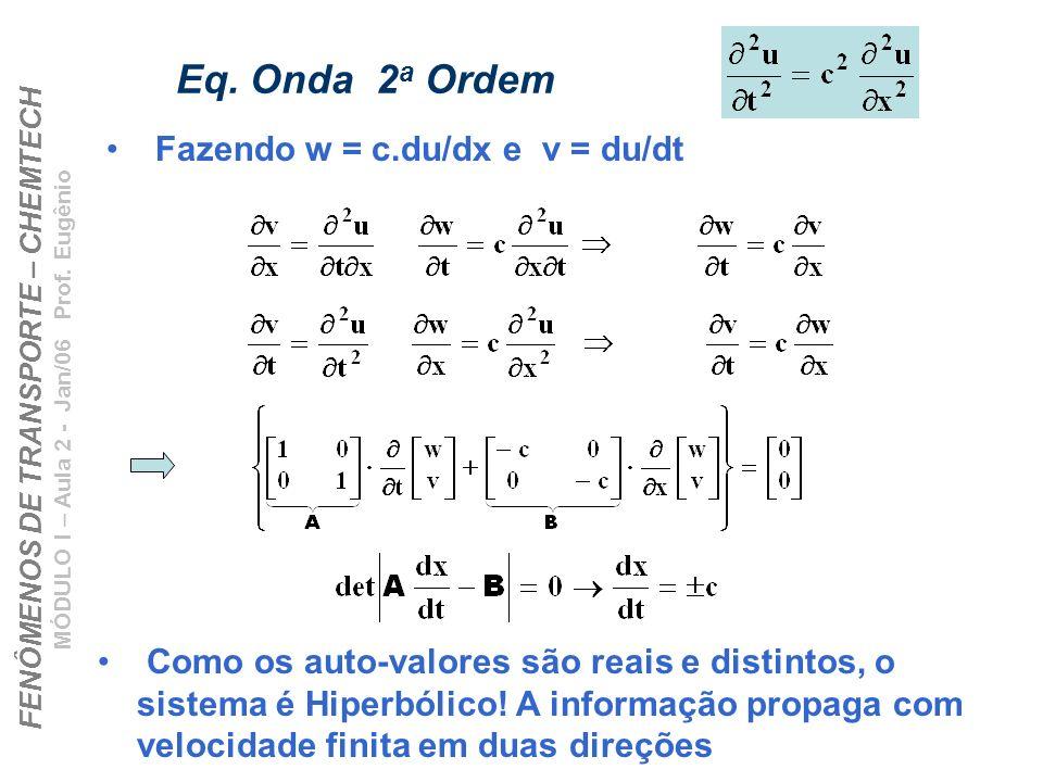 FENÔMENOS DE TRANSPORTE – CHEMTECH MÓDULO I – Aula 2 - Jan/06 Prof. Eugênio Eq. Onda 2 a Ordem Fazendo w = c.du/dx e v = du/dt Como os auto-valores sã