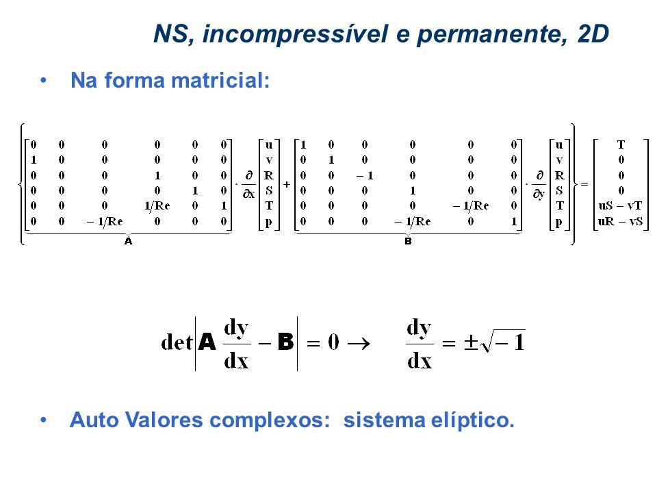 FENÔMENOS DE TRANSPORTE – CHEMTECH MÓDULO I – Aula 2 - Jan/06 Prof. Eugênio NS, incompressível e permanente, 2D Na forma matricial: Auto Valores compl