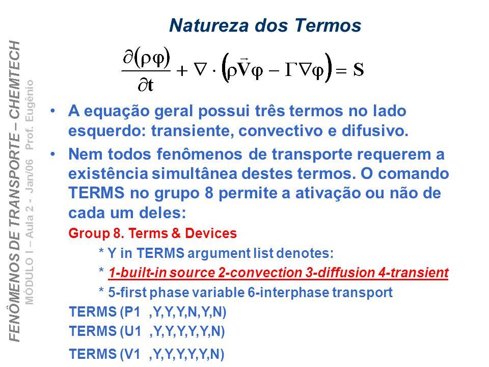 FENÔMENOS DE TRANSPORTE – CHEMTECH MÓDULO I – Aula 2 - Jan/06 Prof. Eugênio Natureza dos Termos A equação geral possui três termos no lado esquerdo: t