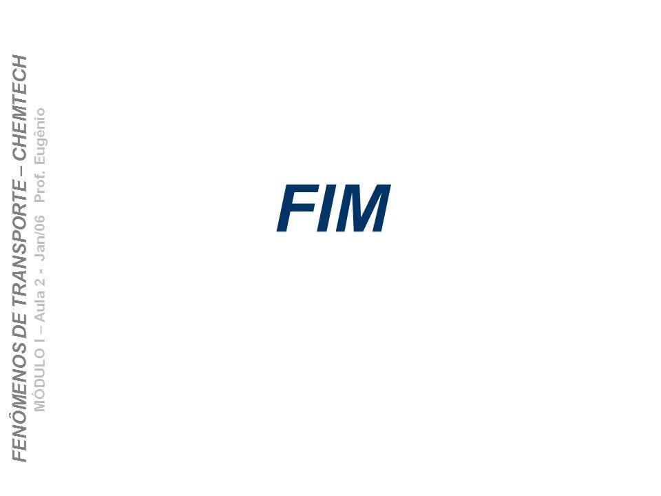 FENÔMENOS DE TRANSPORTE – CHEMTECH MÓDULO I – Aula 2 - Jan/06 Prof. Eugênio FIM