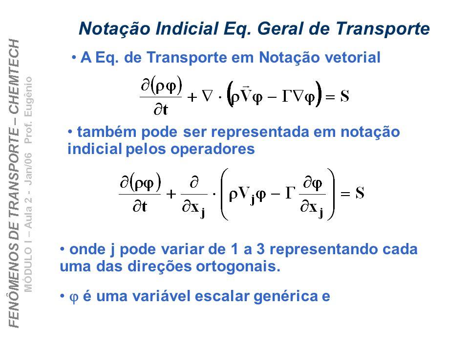 FENÔMENOS DE TRANSPORTE – CHEMTECH MÓDULO I – Aula 2 - Jan/06 Prof. Eugênio Notação Indicial Eq. Geral de Transporte onde j pode variar de 1 a 3 repre