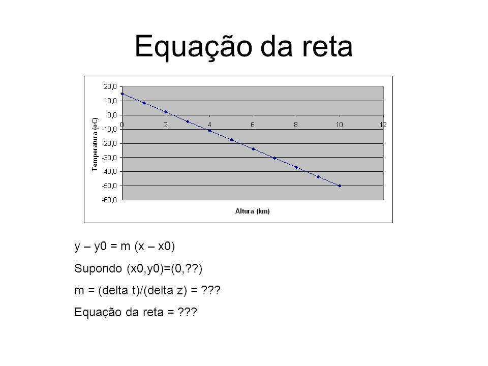 Equação da reta y – y0 = m (x – x0) Supondo (x0,y0)=(0,??) m = (delta t)/(delta z) = ??? Equação da reta = ???