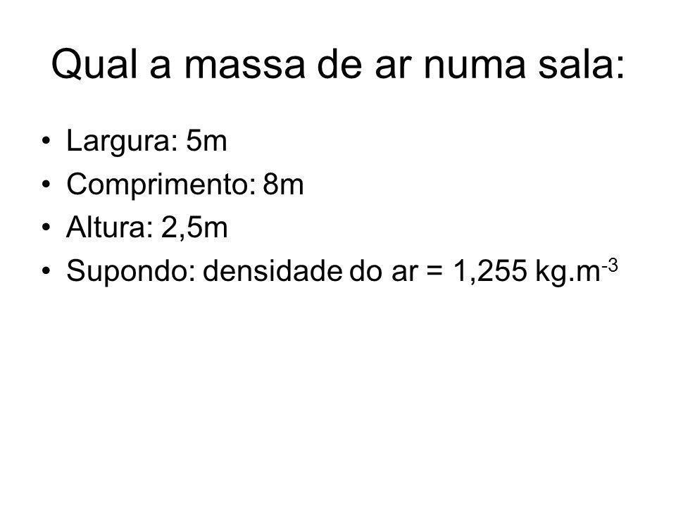 Qual a massa de ar numa sala: Largura: 5m Comprimento: 8m Altura: 2,5m Supondo: densidade do ar = 1,255 kg.m -3