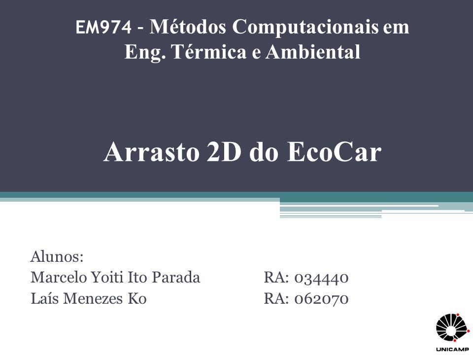 EM974 – Métodos Computacionais em Eng. Térmica e Ambiental Arrasto 2D do EcoCar Alunos: Marcelo Yoiti Ito Parada RA: 034440 Laís Menezes KoRA: 062070
