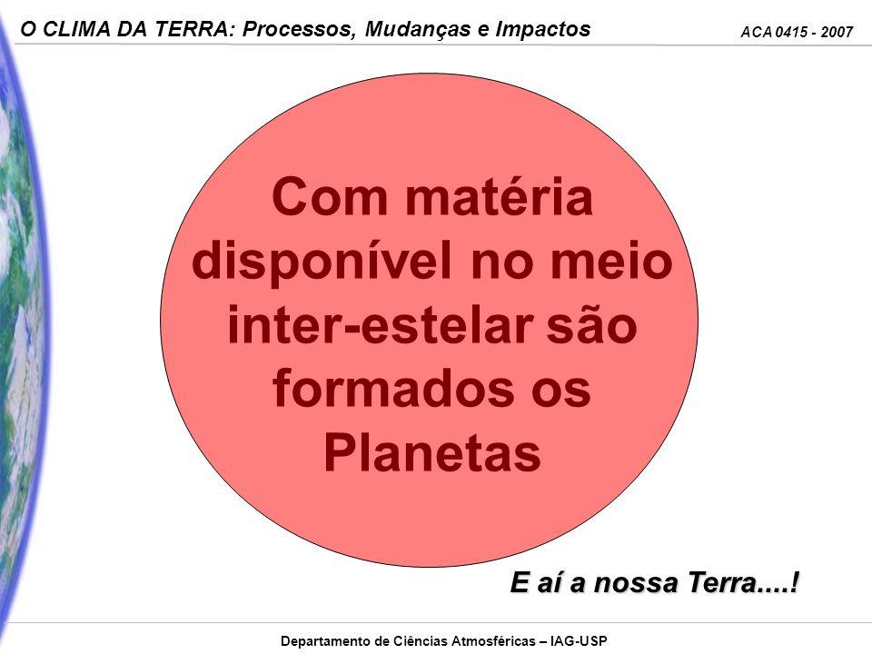 ACA 0415 - 2007 O CLIMA DA TERRA: Processos, Mudanças e Impactos Departamento de Ciências Atmosféricas – IAG-USP Com matéria disponível no meio inter-