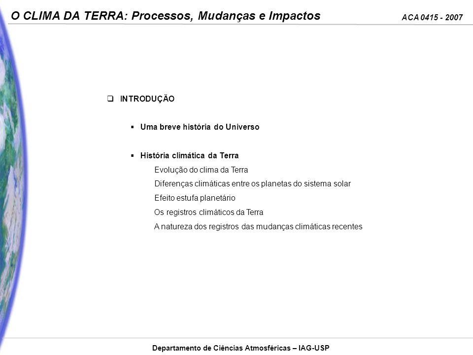 ACA 0415 - 2007 O CLIMA DA TERRA: Processos, Mudanças e Impactos Departamento de Ciências Atmosféricas – IAG-USP INTRODUÇÃO Uma breve história do Univ