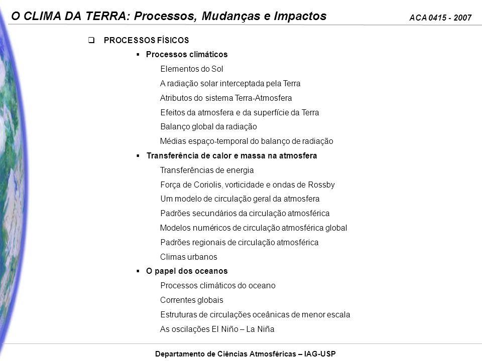 ACA 0415 - 2007 O CLIMA DA TERRA: Processos, Mudanças e Impactos Departamento de Ciências Atmosféricas – IAG-USP A composição da massa Solar H ……….78.4% He………19.8% O ……….