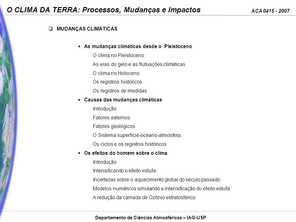 ACA 0415 - 2007 O CLIMA DA TERRA: Processos, Mudanças e Impactos Departamento de Ciências Atmosféricas – IAG-USP MUDANÇAS CLIMÁTICAS As mudanças climá