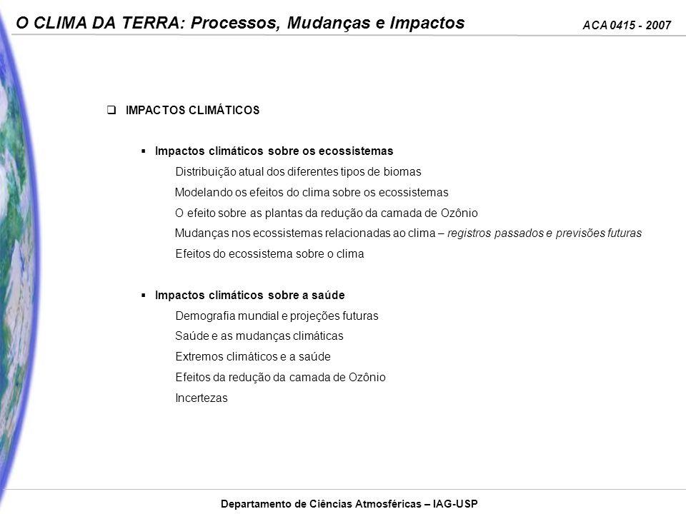 ACA 0415 - 2007 O CLIMA DA TERRA: Processos, Mudanças e Impactos Departamento de Ciências Atmosféricas – IAG-USP IMPACTOS CLIMÁTICOS Impactos climátic