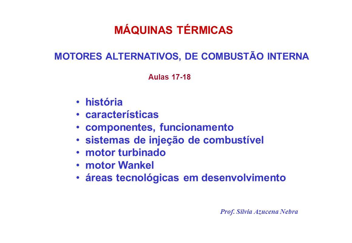 MOTORES ALTERNATIVOS, DE COMBUSTÃO INTERNA história características componentes, funcionamento sistemas de injeção de combustível motor turbinado motor Wankel áreas tecnológicas em desenvolvimento Prof.