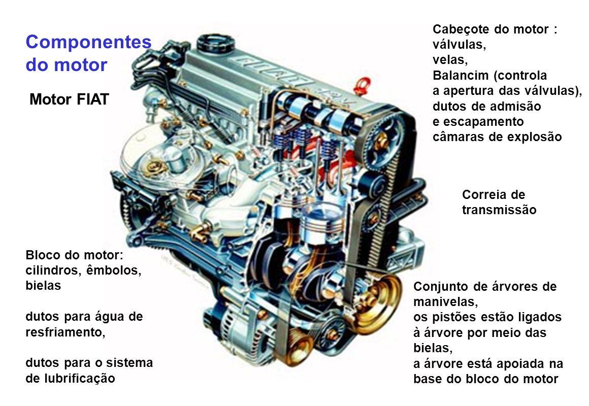 Cabeçote do motor : válvulas, velas, Balancim (controla a apertura das válvulas), dutos de admisão e escapamento câmaras de explosão Conjunto de árvores de manivelas, os pistões estão ligados à árvore por meio das bielas, a árvore está apoiada na base do bloco do motor Bloco do motor: cilindros, êmbolos, bielas dutos para água de resfriamento, dutos para o sistema de lubrificação Correia de transmissão Componentes do motor Motor FIAT