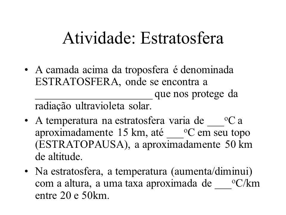 Atividade: Estratosfera A camada acima da troposfera é denominada ESTRATOSFERA, onde se encontra a _____________________ que nos protege da radiação u