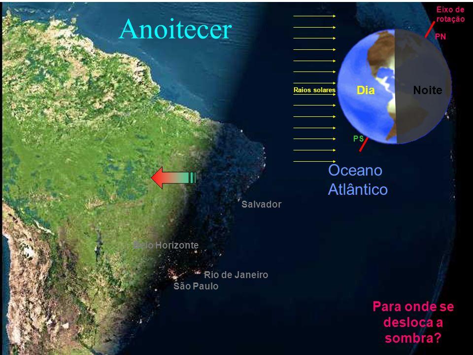 São Paulo Rio de Janeiro Belo Horizonte Salvador Oceano Atlântico Anoitecer Para onde se desloca a sombra? Dia Noite Raios solares Eixo de rotação PS
