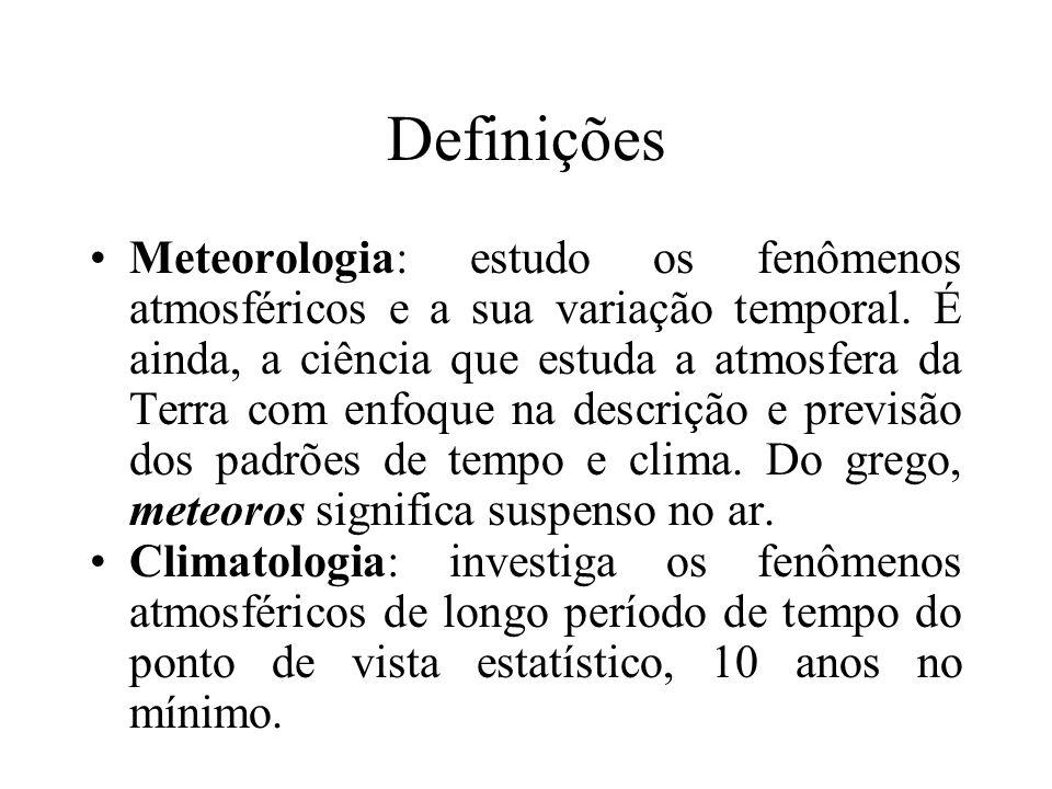 Definições Meteorologia: estudo os fenômenos atmosféricos e a sua variação temporal. É ainda, a ciência que estuda a atmosfera da Terra com enfoque na