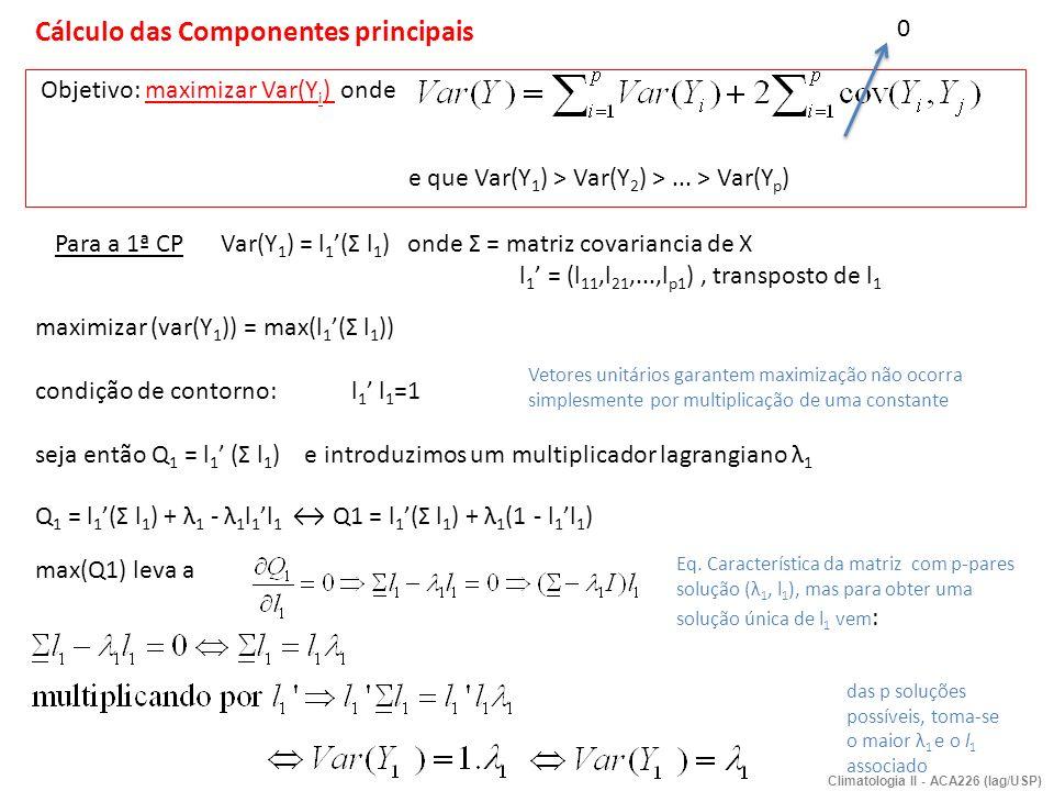 Cálculo das Componentes principais Objetivo: maximizar Var(Y i ) onde e que Var(Y 1 ) > Var(Y 2 ) >... > Var(Y p ) Para a 1ª CP Var(Y 1 ) = l 1 (Σ l 1
