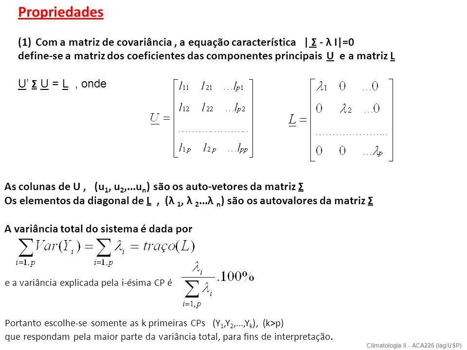Propriedades (1)Com a matriz de covariância, a equação característica | Σ - λ I|=0 define-se a matriz dos coeficientes das componentes principais U e