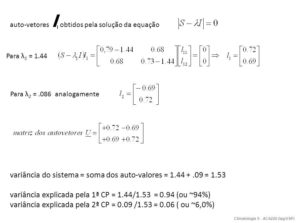 Climatologia II - ACA226 (Iag/USP) auto-vetores l i obtidos pela solução da equação Para λ 1 = 1.44 Para λ 2 =.086 analogamente variância do sistema =
