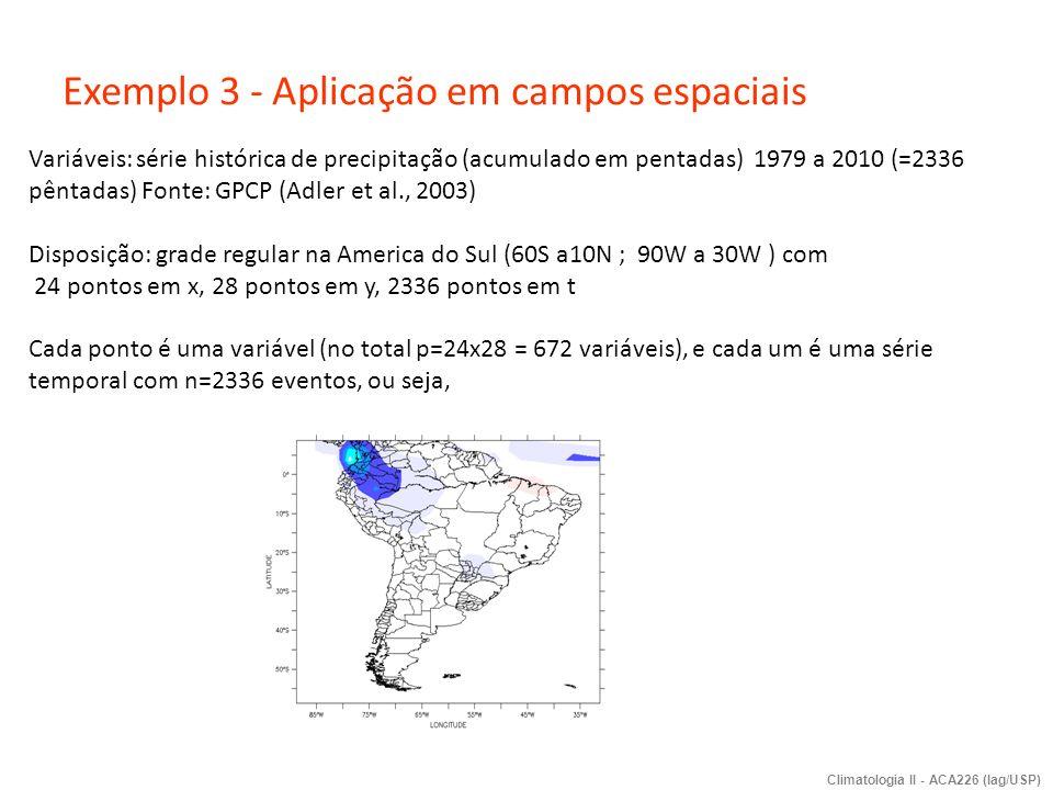 Exemplo 3 - Aplicação em campos espaciais Variáveis: série histórica de precipitação (acumulado em pentadas) 1979 a 2010 (=2336 pêntadas) Fonte: GPCP