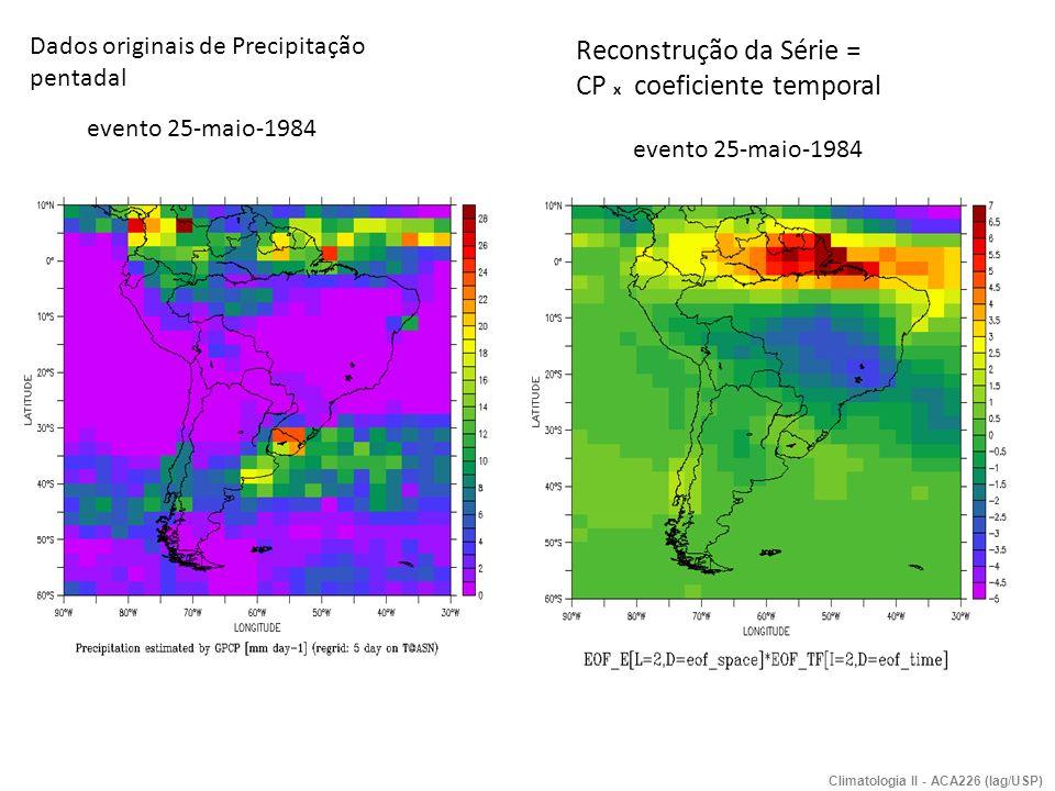 Reconstrução da Série = CP x coeficiente temporal Dados originais de Precipitação pentadal evento 25-maio-1984 Climatologia II - ACA226 (Iag/USP)